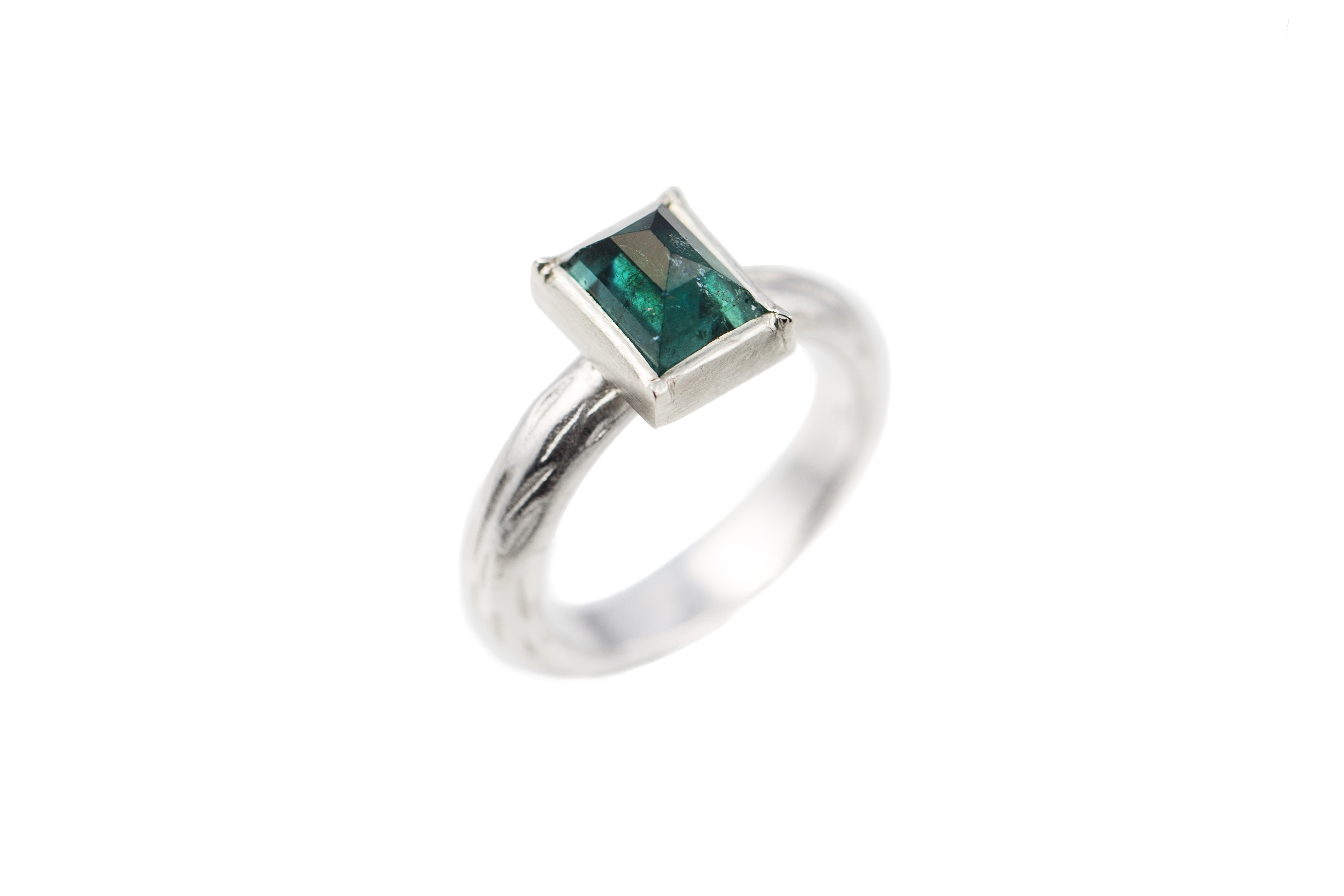 Tourmaline & silver rectangle ring