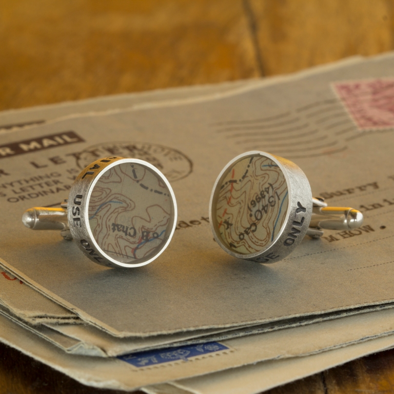 Sterling Silver and 'Eascape and Evade' map cufflinks