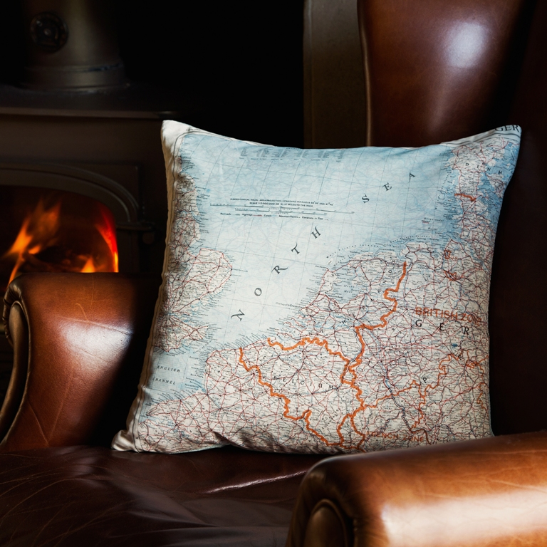 Limited Edition Silk 'Escape and Evade' Map cushion cover