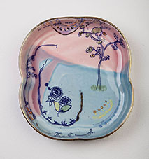 Blue and pink dish