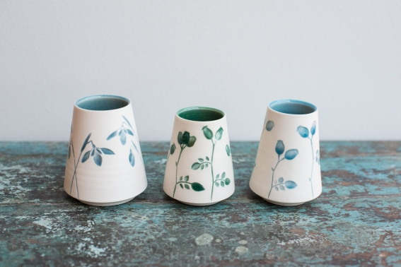 Silhouette Snowdrop and Rosehip vases