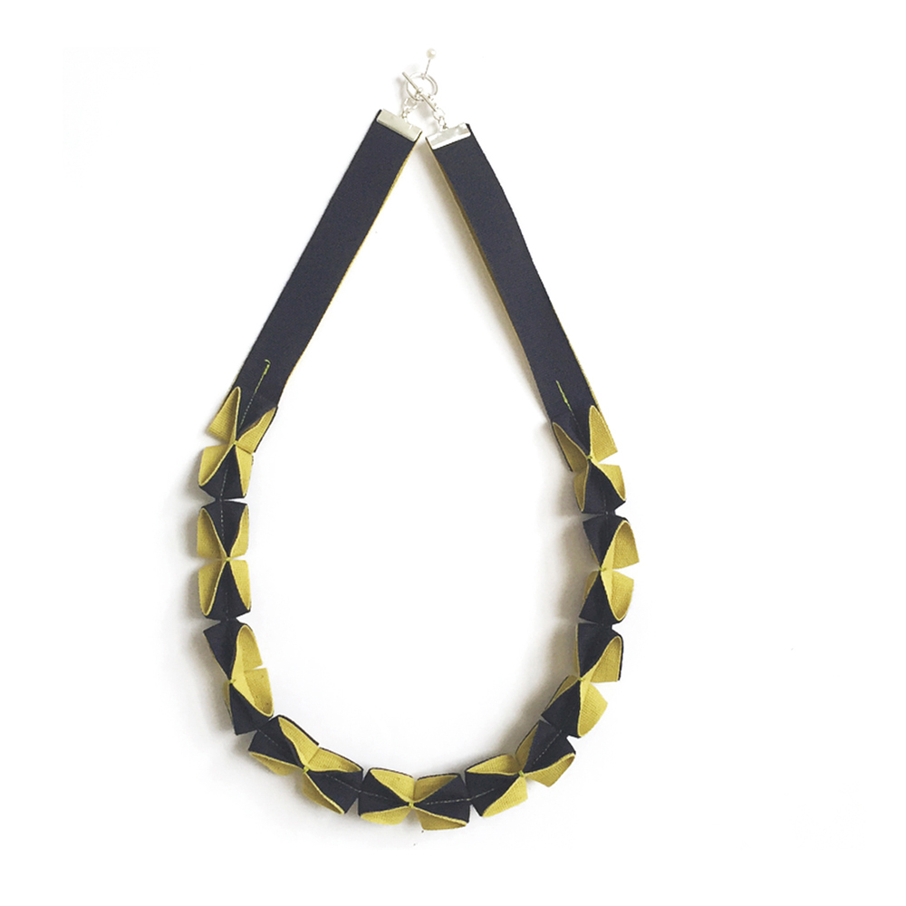 Navy and Mustard Burano Origami Necklace