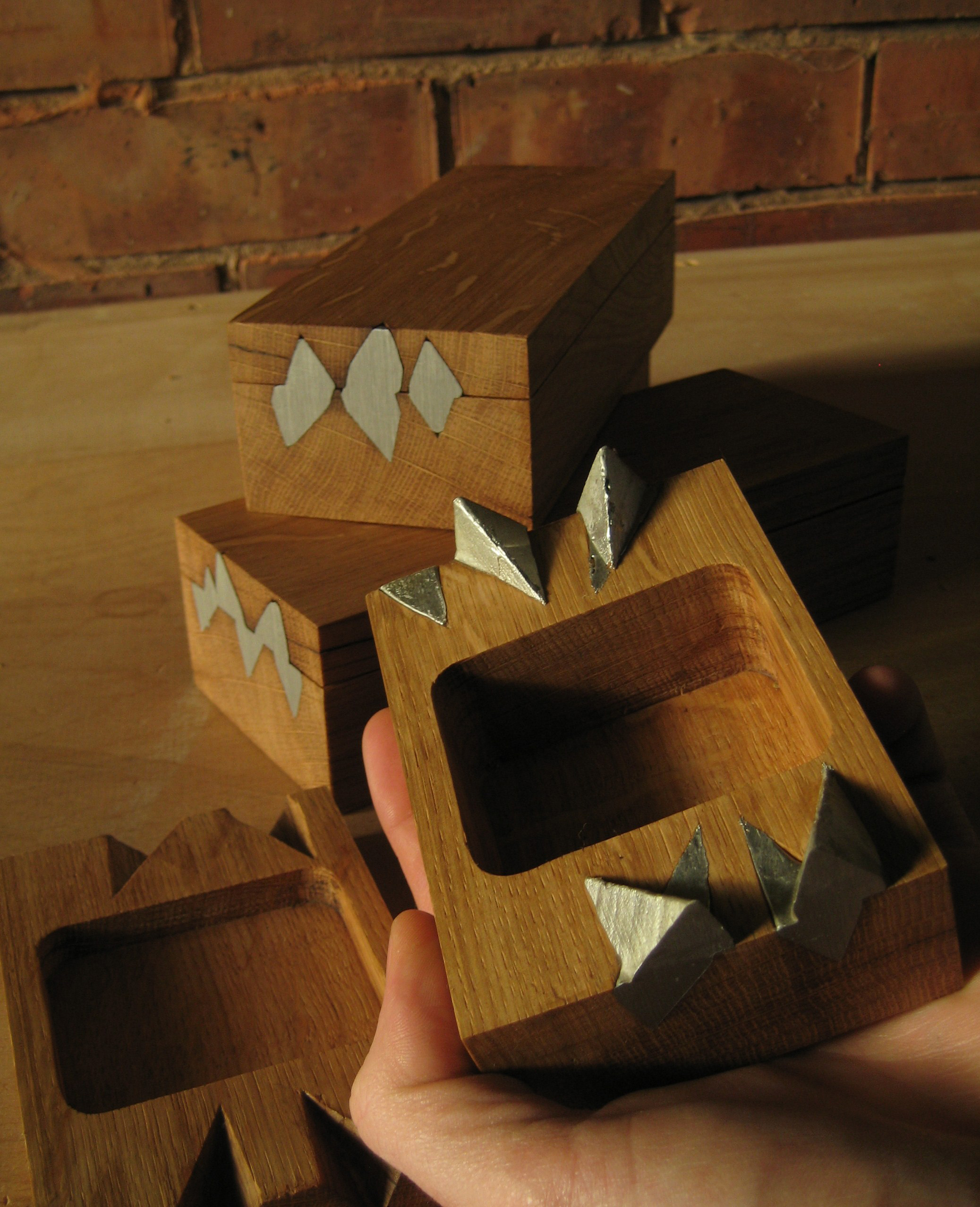 Oak and Pewter Boxes