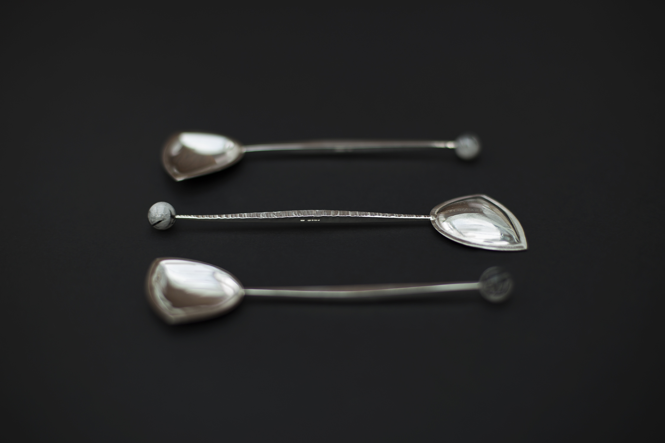 Textured silver spoons
