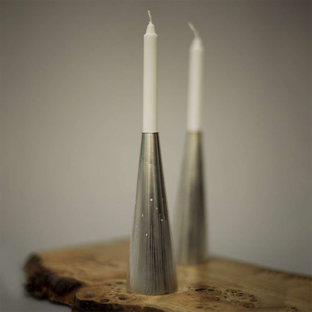 Etched silver candlesticks